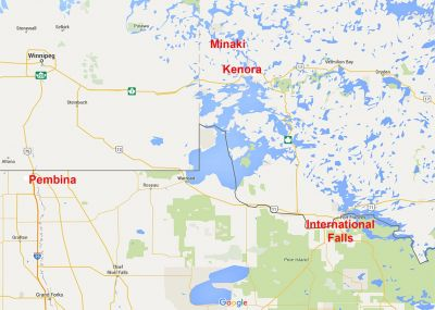 American to Canadian Border Crossings into Northwestern Ontario